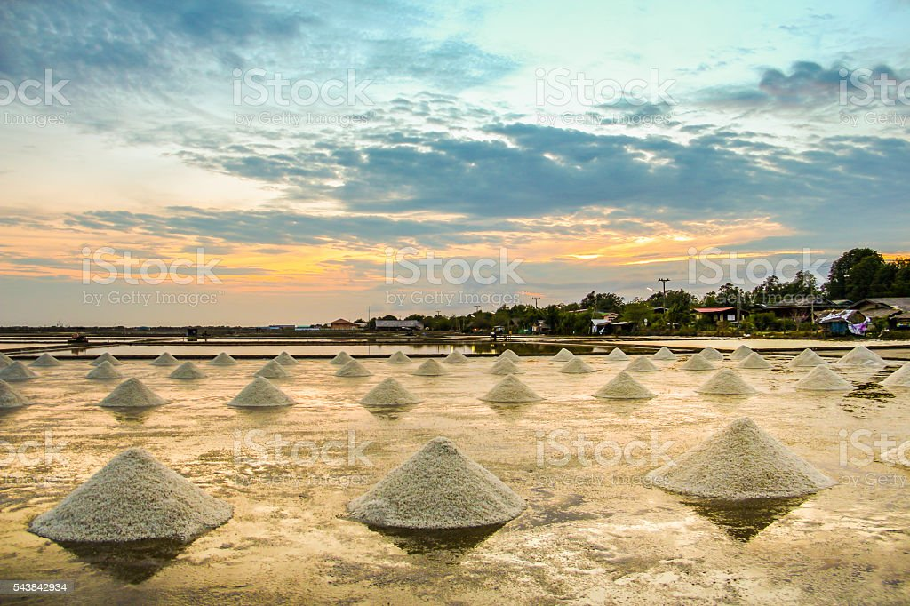 Landscape of a salt farm stock photo