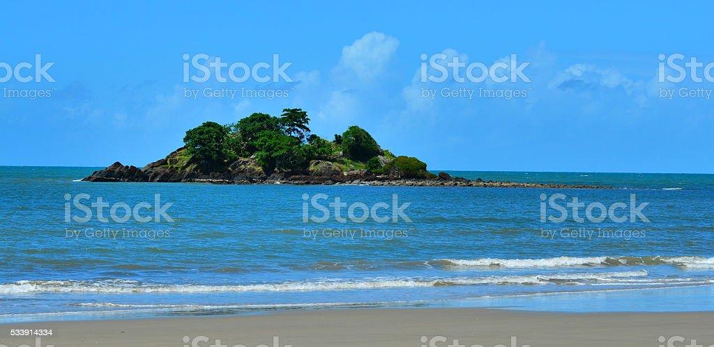 Landscape of a small island in Cape Tribulation Queensland Austr stock photo