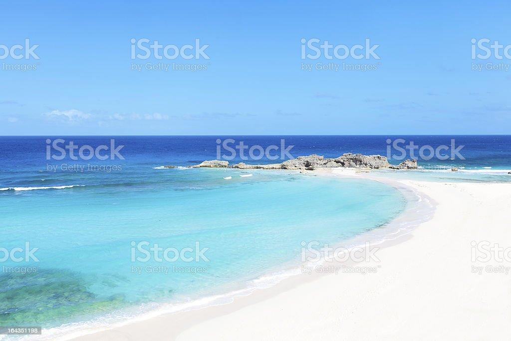 Landscape of a sunny Caribbean beach stock photo