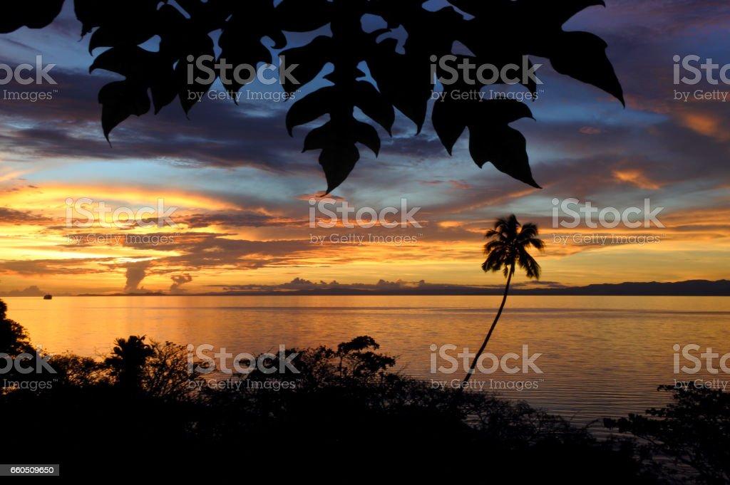 Landscape of a tropical beach in Vanua Levu Island Fiji stock photo
