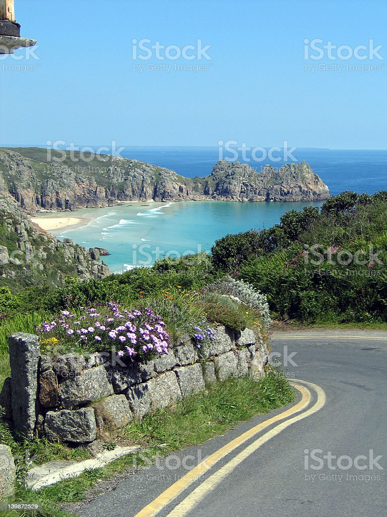 Landscape of a winding road and scenic ocean view stock photo