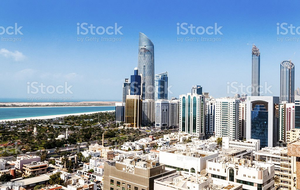 A landscape of Abu Dhabi city in the daytime  stock photo