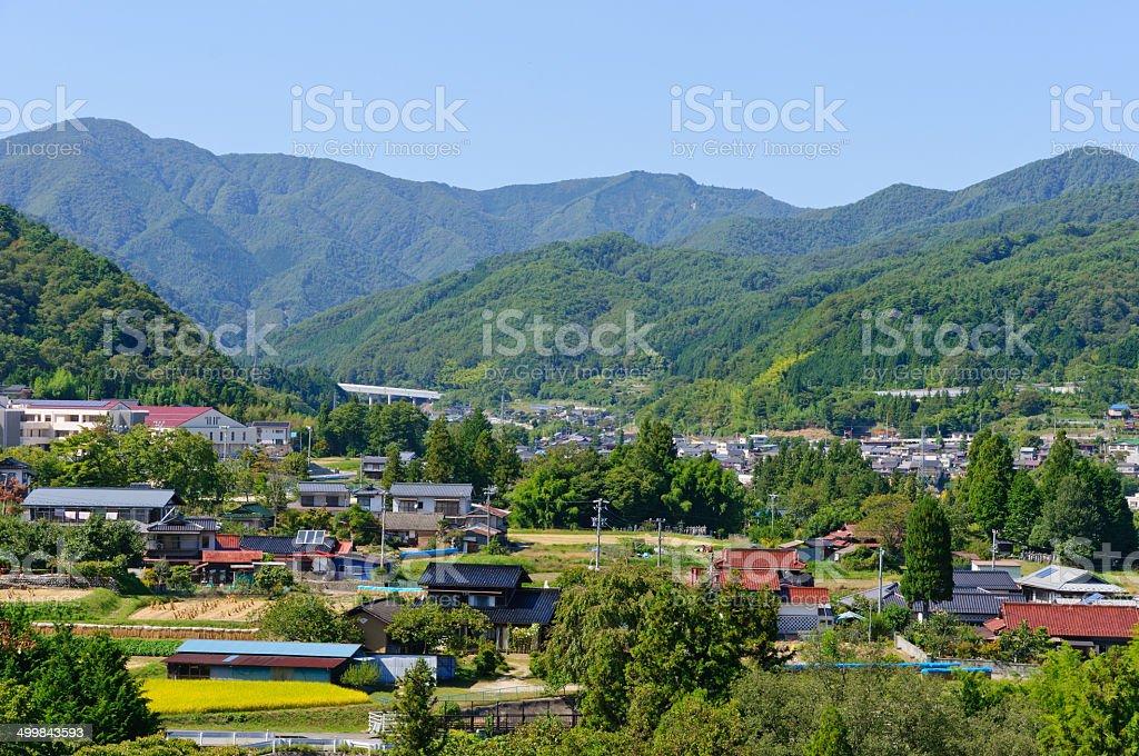Landscape of Achi village in Southern Nagano, Japan stock photo