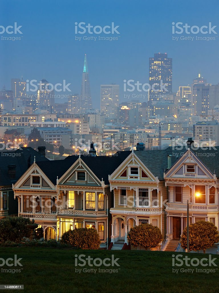 Landscape of Alamo square with cityscape in the background stock photo