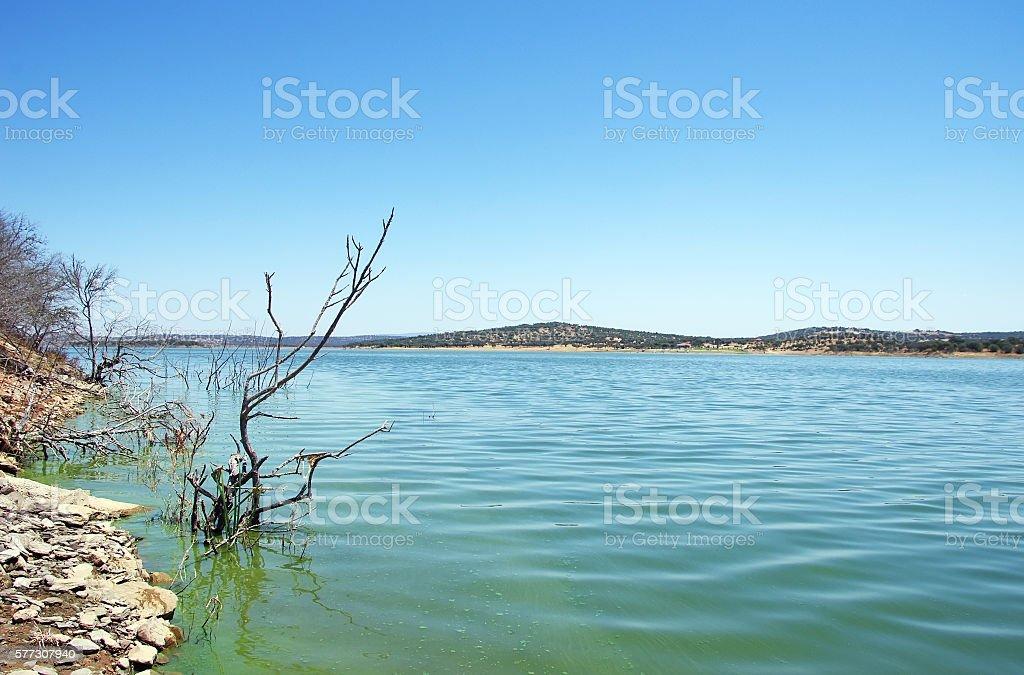 landscape of Alqueva lake, south of Portugal stock photo