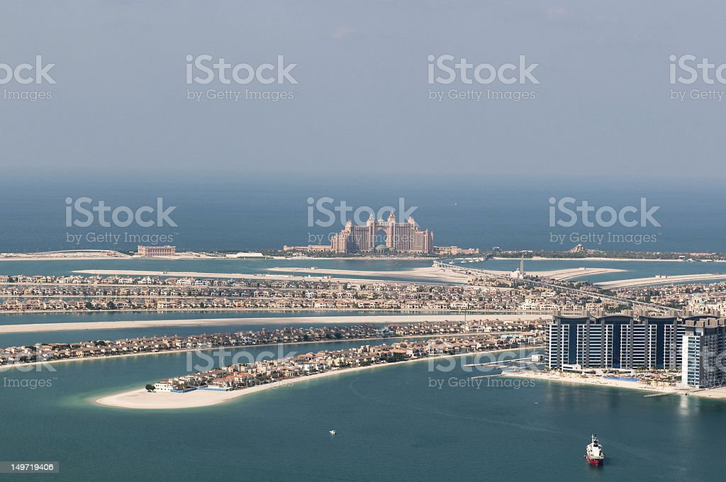 Landscape of artificial Palm Jumeirah island in Dubai  stock photo