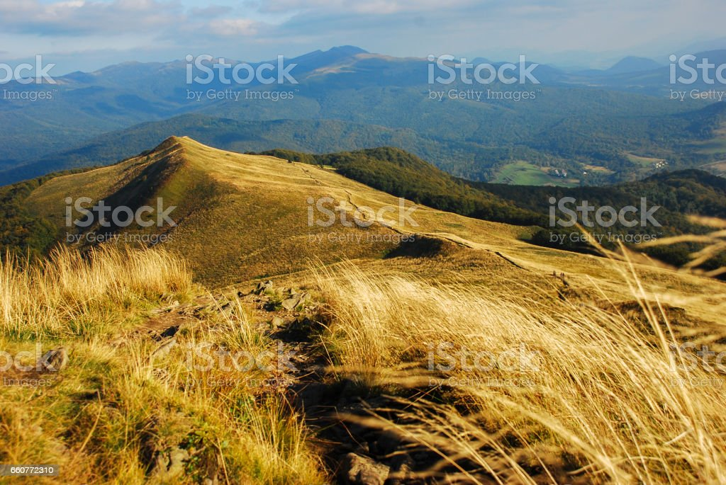 Landscape of autumn mountains, polonina carynska, bieszczady, poland stock photo