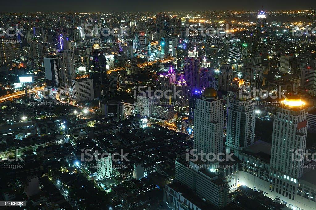 Landscape of Bangkok city at Night stock photo
