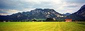 Landscape of Bavarian Alps with Neuschwanstein Castle in Bavaria, Germany