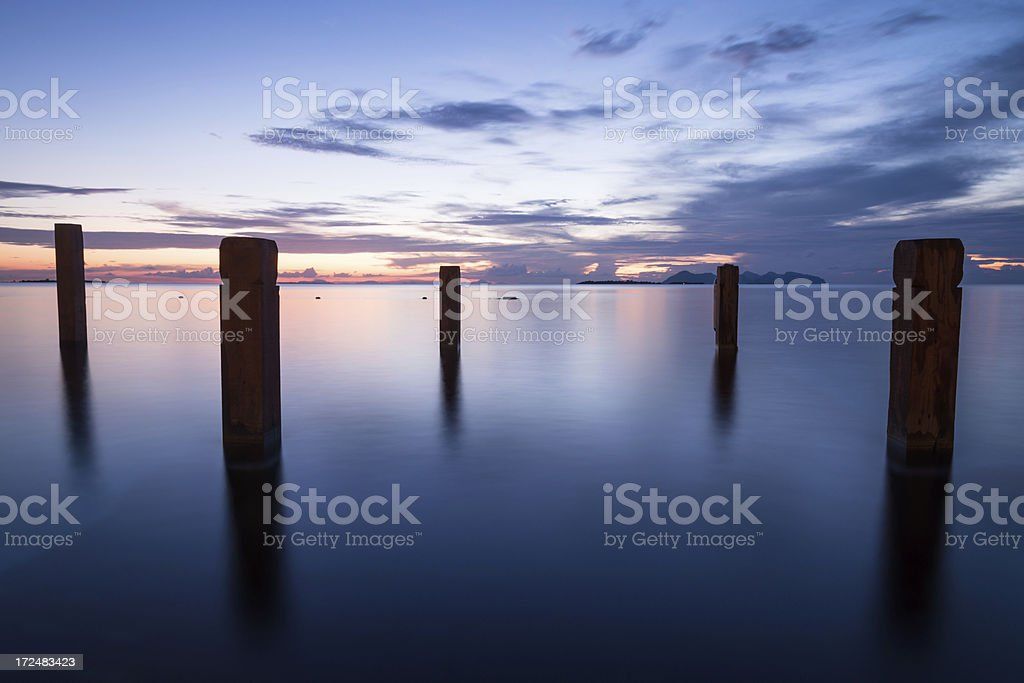 landscape of beach with sunset royalty-free stock photo