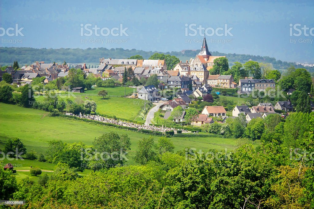 Landscape of Beaumont en Auge in Normandy, France stock photo