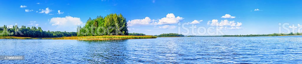 Landscape of beautiful lake at summer day panoramic stock photo