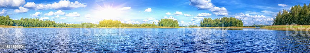 Landscape of beautiful lake at summer sunny day panoramic stock photo