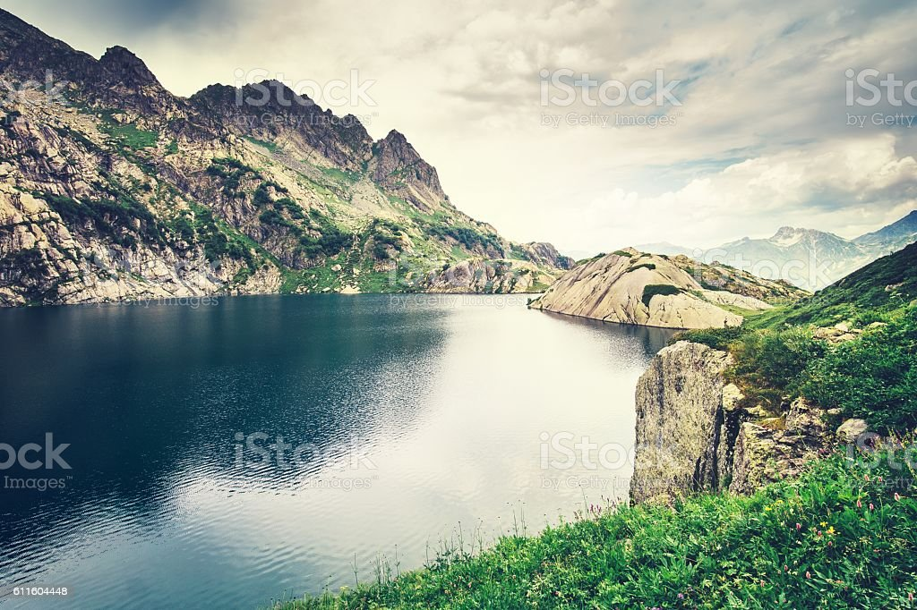 Landscape of beautiful Lake with Rocky Mountains stock photo
