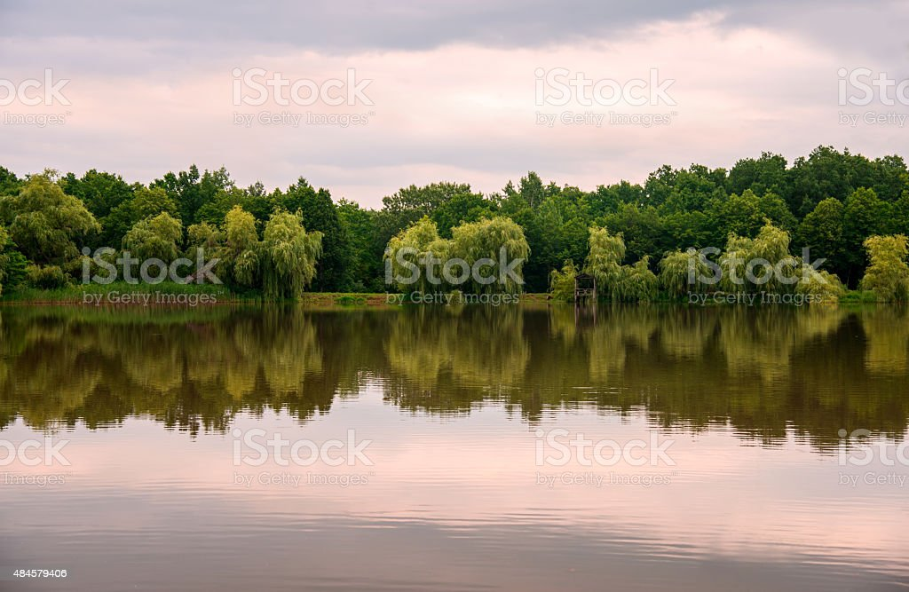 Landscape of beautiful reflection in the lake stock photo