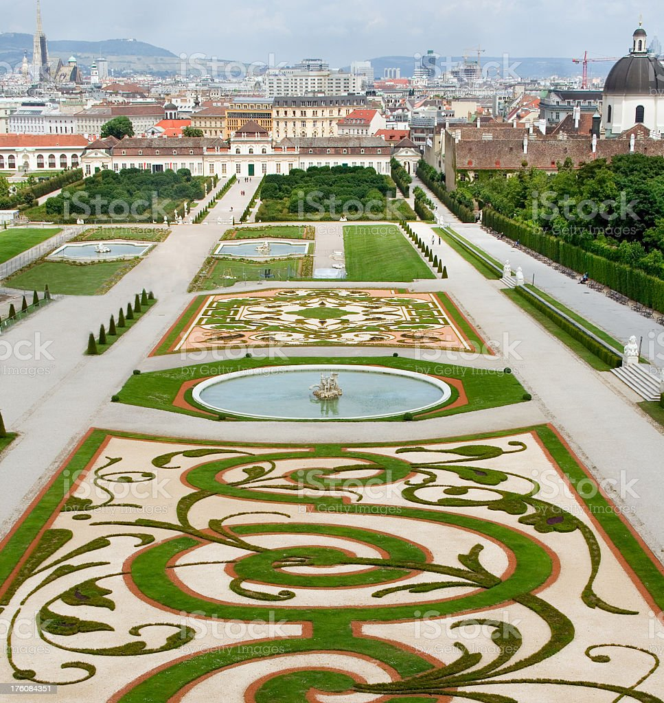 Landscape of Belvedere Gardens with foliage maze stock photo