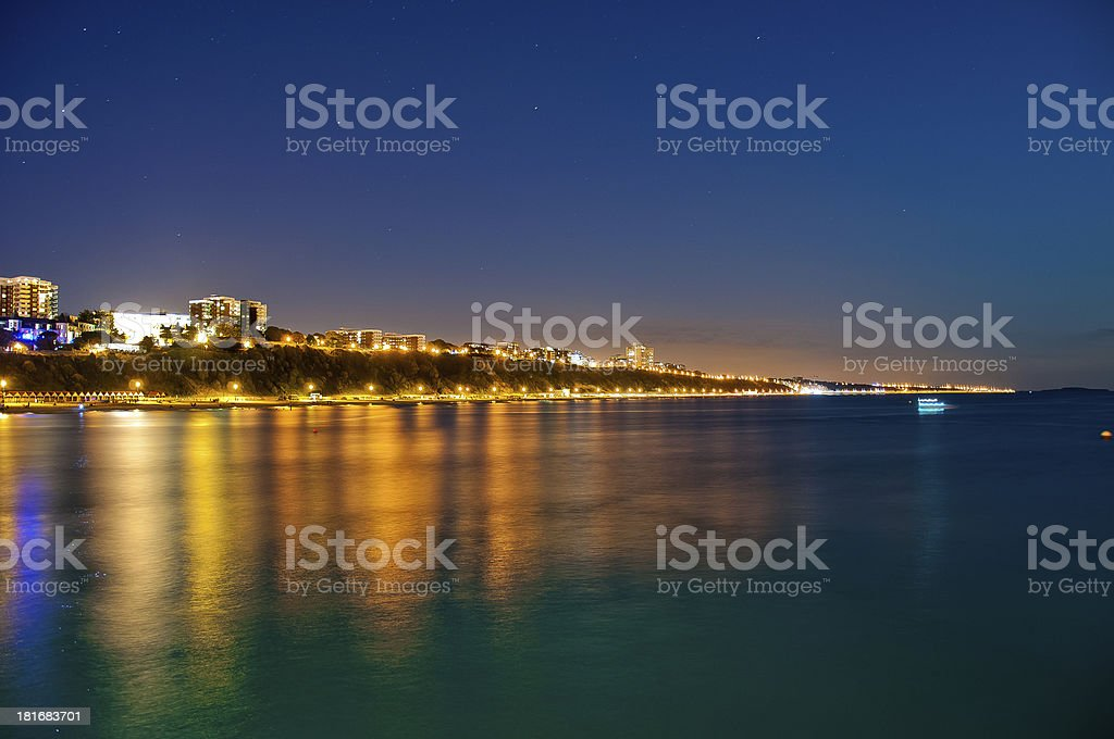 Landscape of Bournemouth Beach lit up at night stock photo