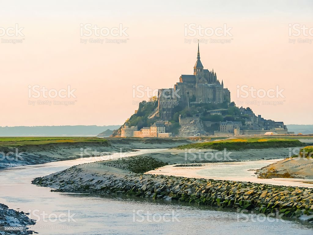 Landscape of Brittany and Mont Saint-Michel, France stock photo