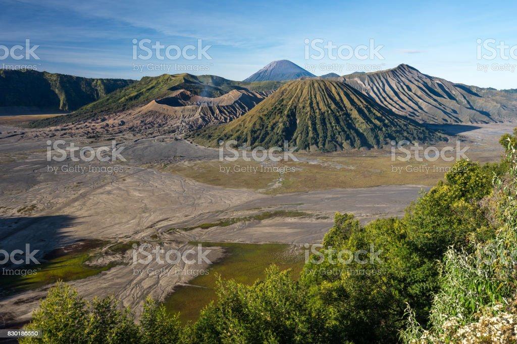 Landscape of Bromo, Batok, and Semeru volcano mountain in East of Java, Indonesia stock photo