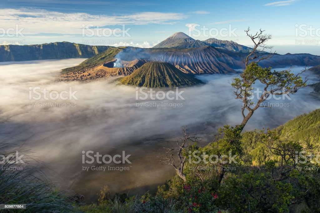 Landscape of Bromo volcano mountain in a morning sunrise, East Java, Indonesia stock photo