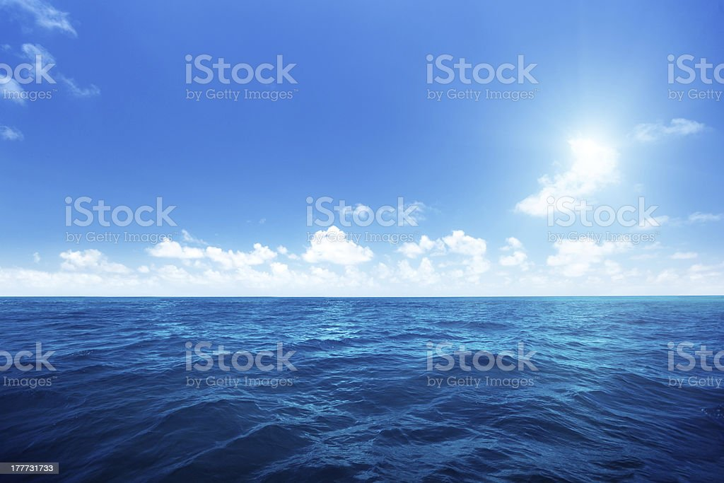 Landscape of calm waters of the Indian Ocean on a sunny day stock photo