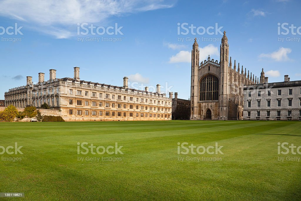 Landscape of Cambridge University and Kings College Chapel stock photo