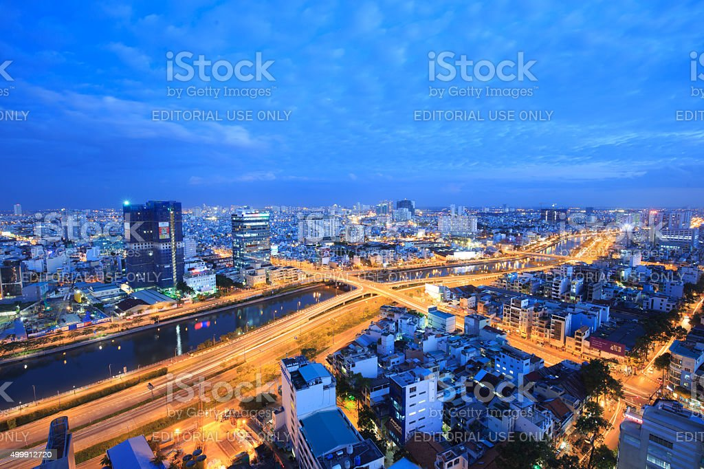 Landscape of canal in Ho Chi Minh city at night royalty-free stock photo