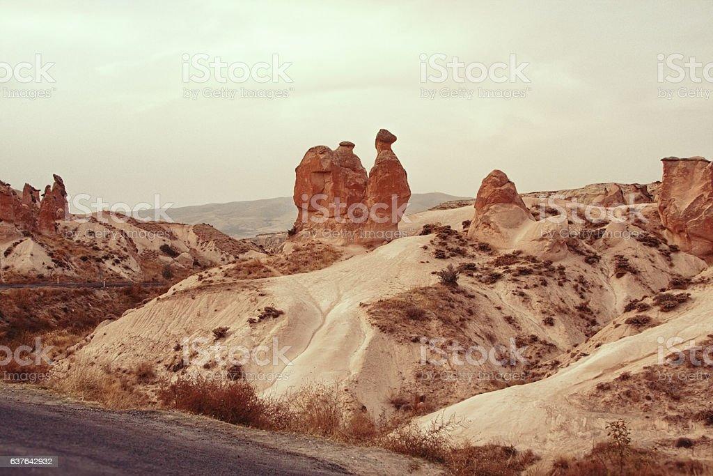 Landscape of Cappadocia, Turkey stock photo
