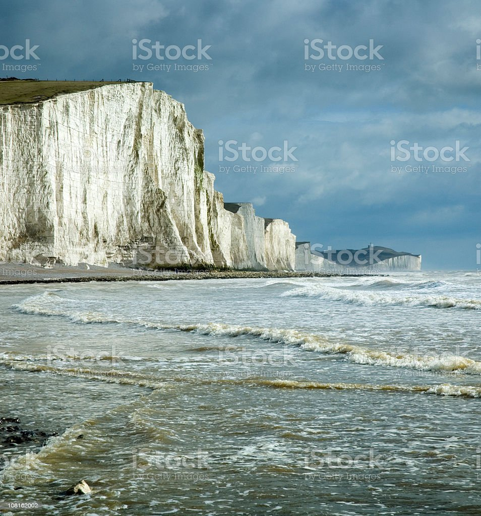 Landscape of Chalk Cliffs on Coastline in Sussex, England stock photo