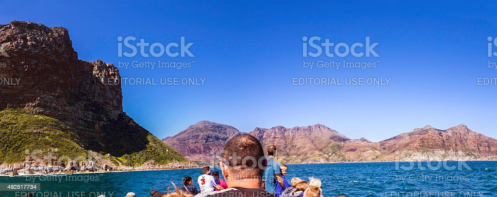Landscape of Chapman's Peak seen from a boat stock photo