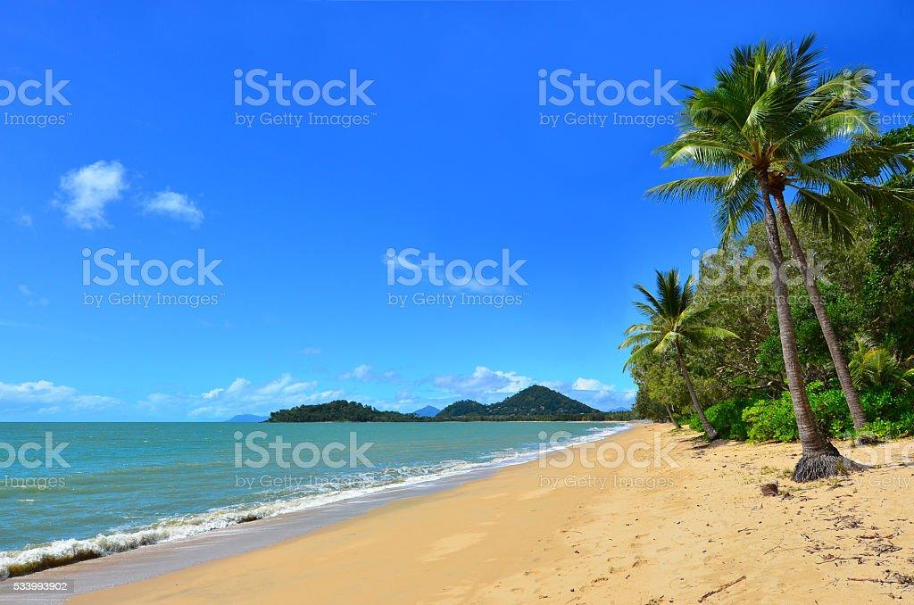 Landscape of Clifton beach near Cairns Queensland Australia stock photo