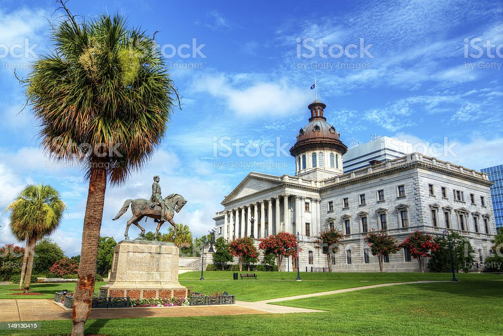 Landscape of colorful South Carolina State House stock photo