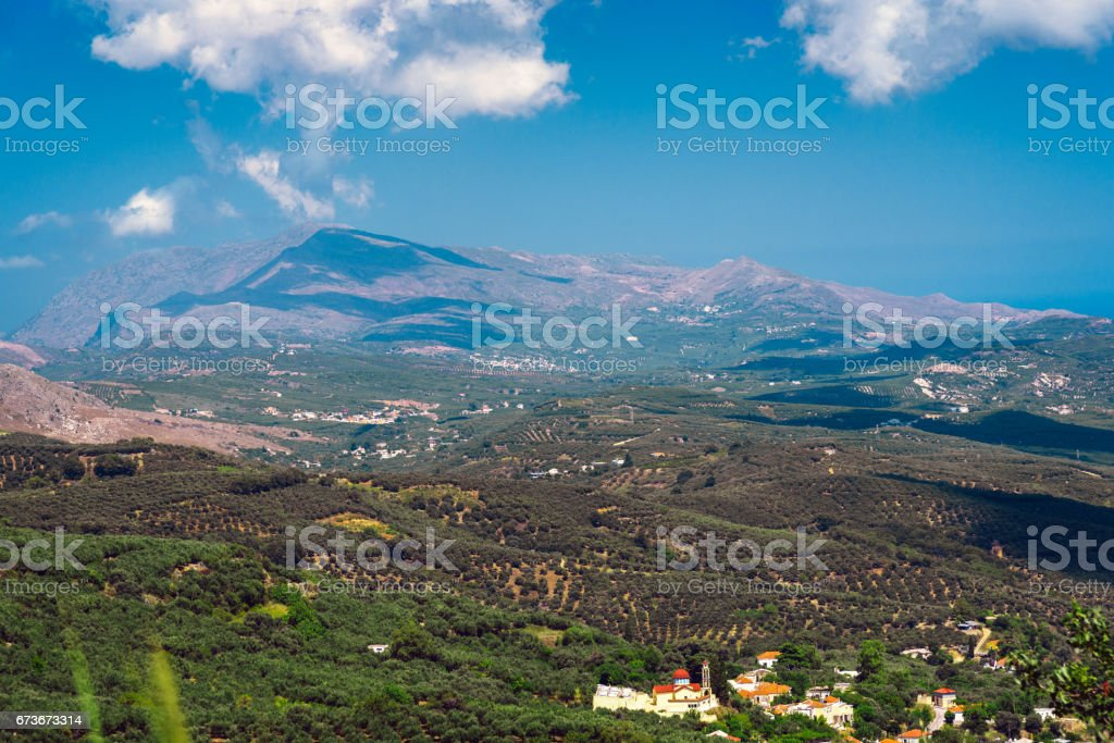 Landscape of Crete island at western part of island stock photo