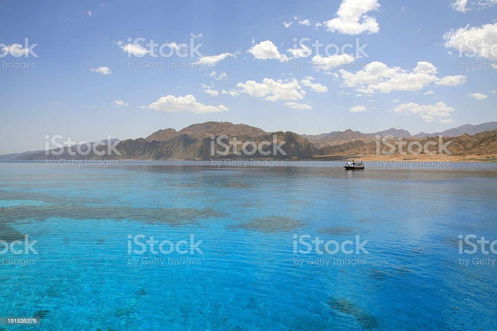 Landscape of Dahab lagoon. Egypt. Red Sea. stock photo
