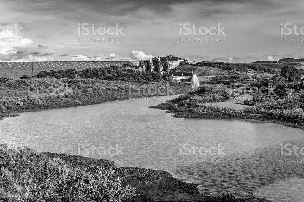 Landscape of Dai Ninh hydroelectric dam. Black and white stock photo