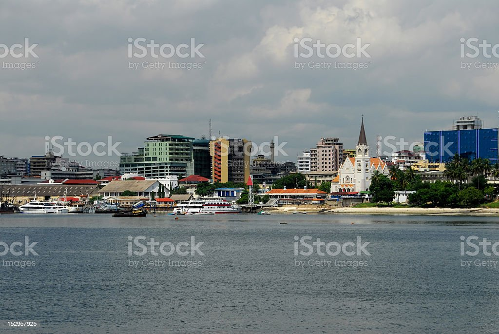 Landscape of Dar Es Salaam from the water royalty-free stock photo