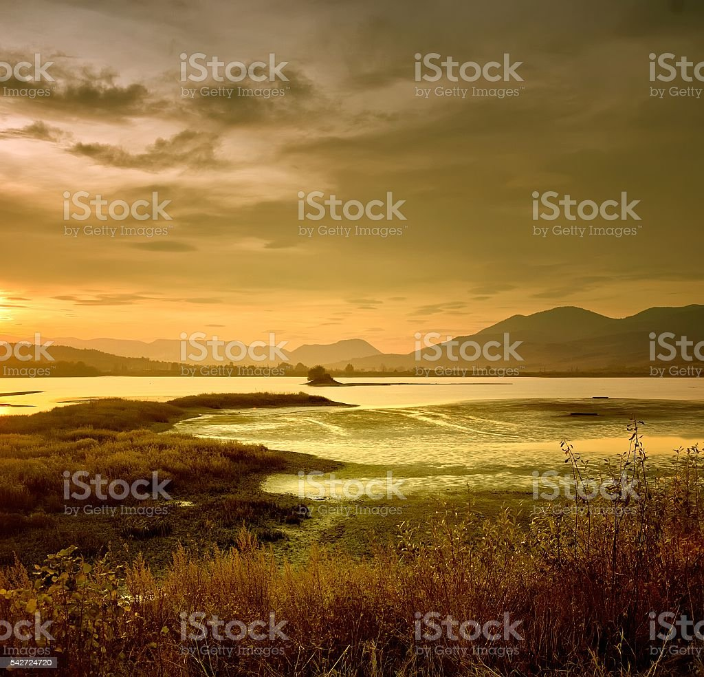 Landscape of dawn on river stock photo
