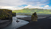 Landscape of Dyrholaey cape, volcanic sand beach South Iceland