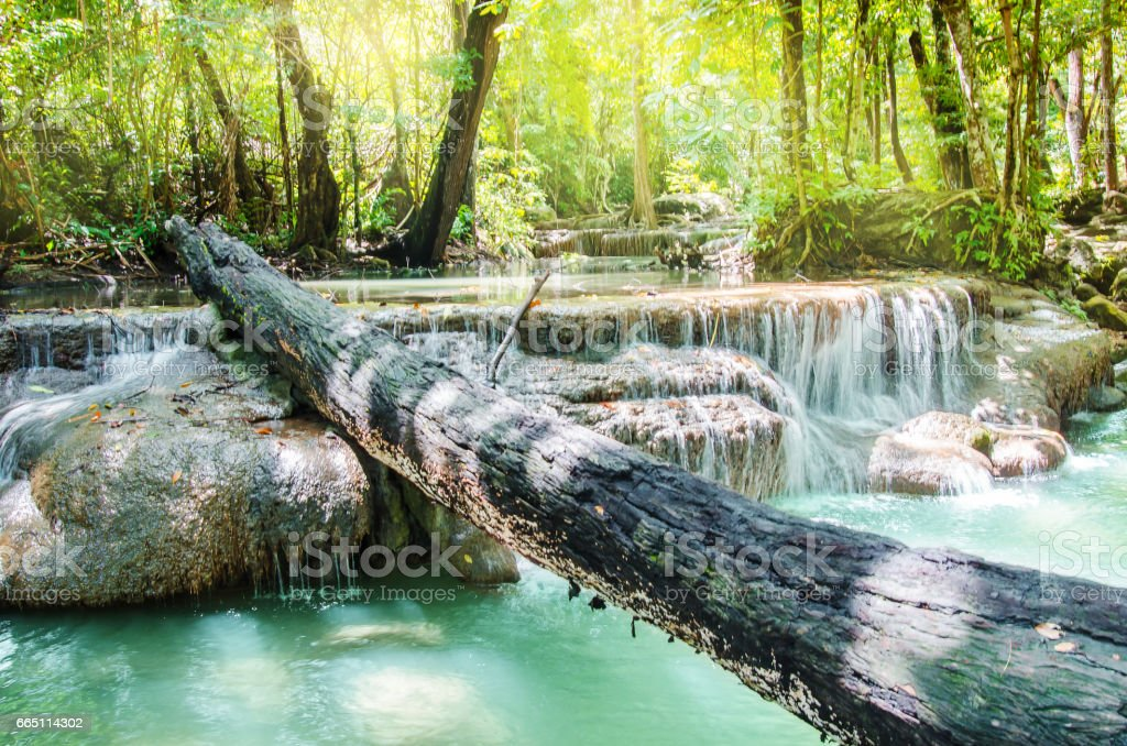 Landscape of Erawan waterfall stock photo