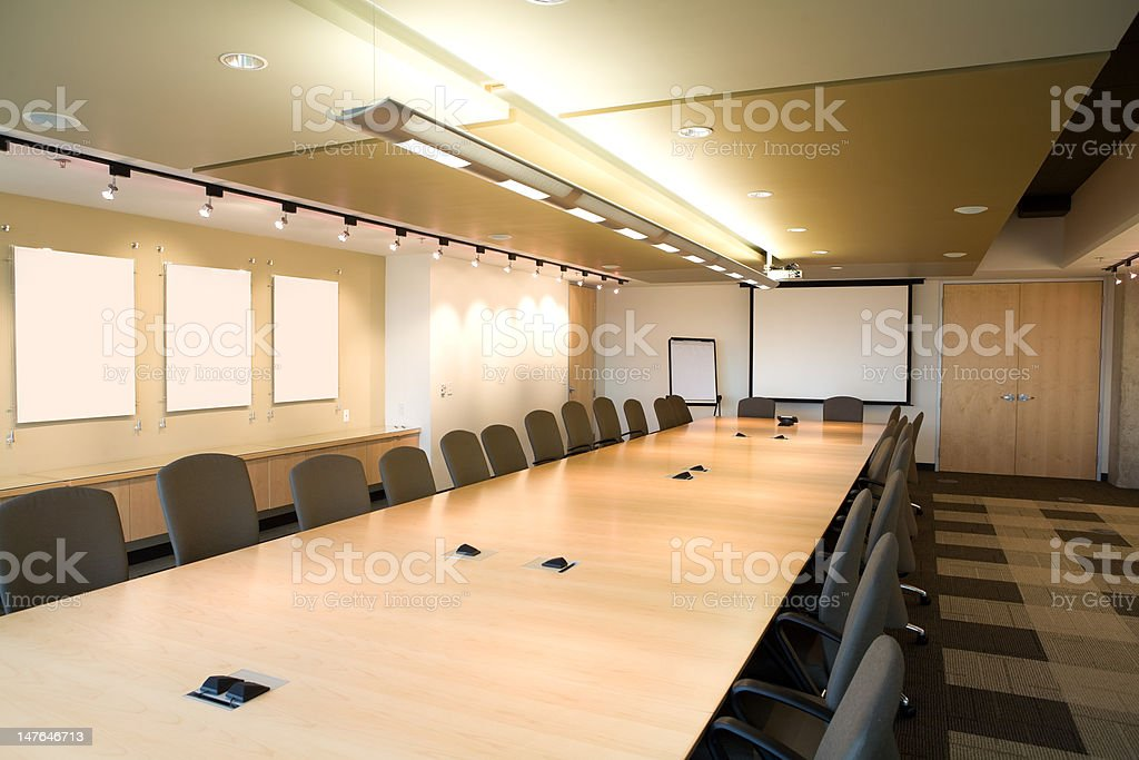 Landscape of executive boardroom in corporate modern day clean office. stock photo