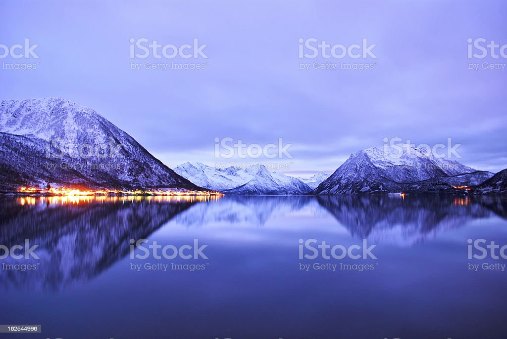Landscape of fjords stock photo