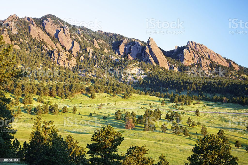 Landscape of flatirons in Boulder, Colorado stock photo