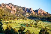 Landscape of flatirons in Boulder, Colorado