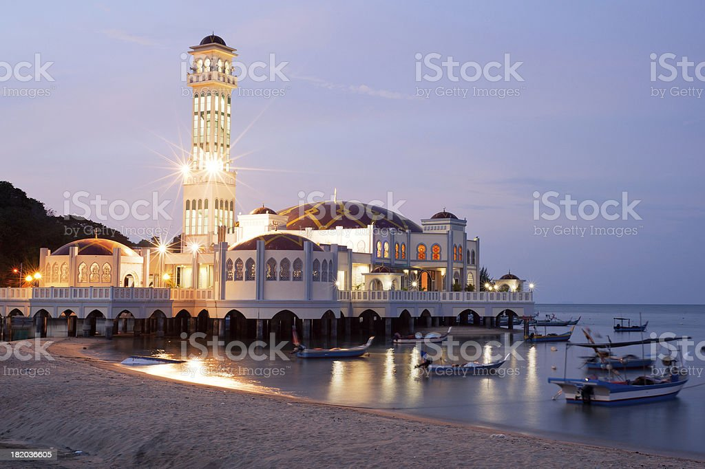 Landscape of floating mosque stock photo