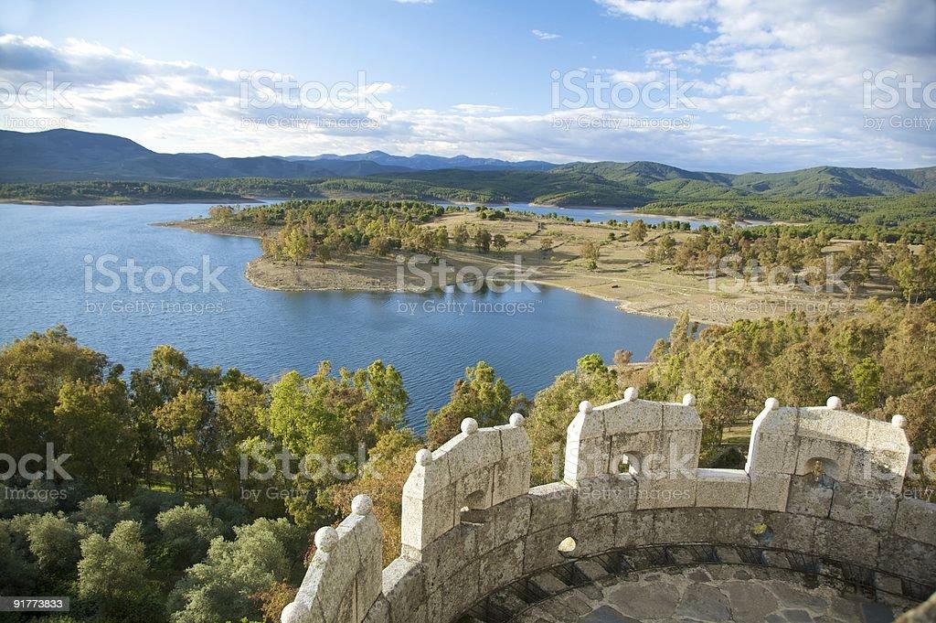 landscape of Granadilla lake from the castle turret stock photo