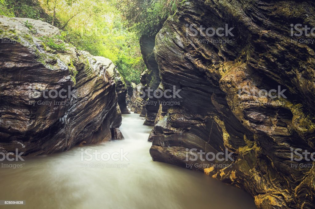 Landscape of Grand Canyon Wang Sila laeng in Nan Province, Thailand. stock photo