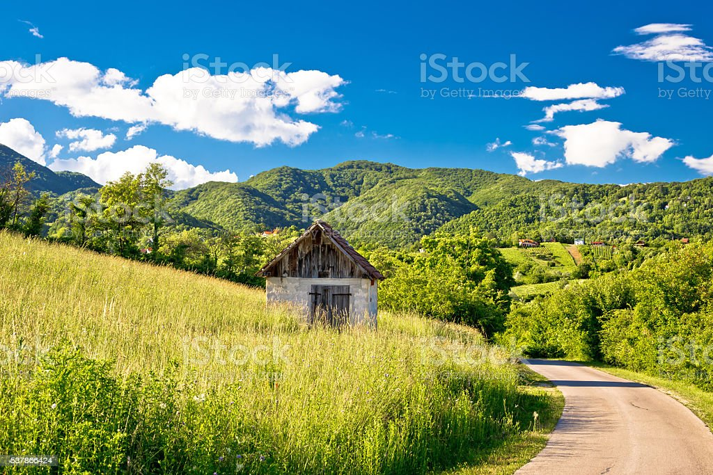 Landscape of green Zumberak hills stock photo