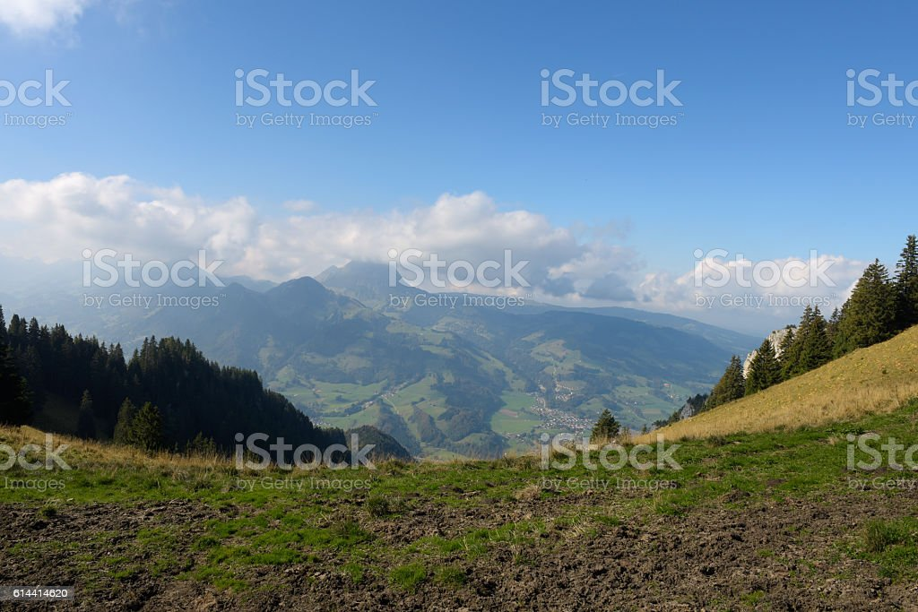 Landscape of Gruyere and Alps stock photo