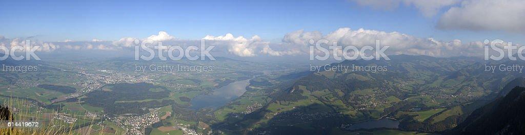 Landscape of Gruyere (Lake of Gruyere) stock photo