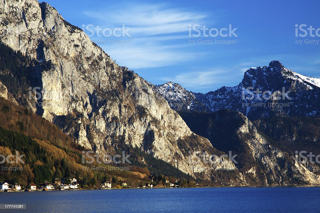 Landscape of high mountain with a lake royalty-free stock photo